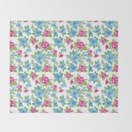 Blue Lilly Watercolor Throw Blanket