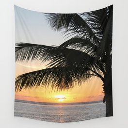 Sunrise and Palm Tree Wall Tapestry