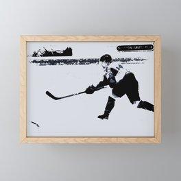 He shoots, He scores! - Hockey Player Framed Mini Art Print