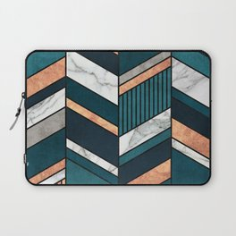 Abstract Chevron Pattern - Copper, Marble, and Blue Concrete Laptop Sleeve
