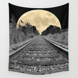 Crow over Railroad Tracks to the Moon A256 Wall Tapestry
