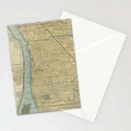 Vintage Map of Detroit Michigan (1895) Stationery Cards