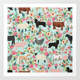 Farm animal sanctuary pig chicken cows horses sheep floral pattern gifts Art Print