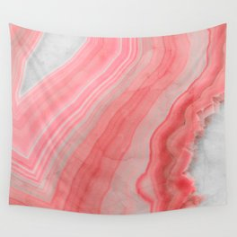 Coral Pink Agate Wall Tapestry