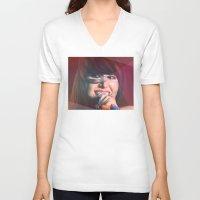 karen hallion V-neck T-shirts featuring Karen O by Camila Fernandez