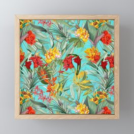 Vintage & Shabby Chic - Colorful Tropical Blue Garden Framed Mini Art Print