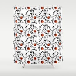 Black and White Lino Cut Leaf and Rose Pattern Shower Curtain