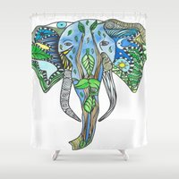 tatoo Shower Curtains featuring Tatoo Elephant by PepperDsArt