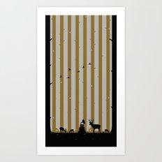 Gold Deer Song Art Print