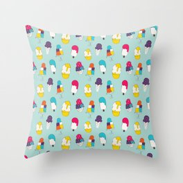 Ice cream pattern - light blue Throw Pillow