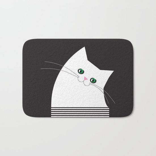 White Cat of Lisa Bath Mat