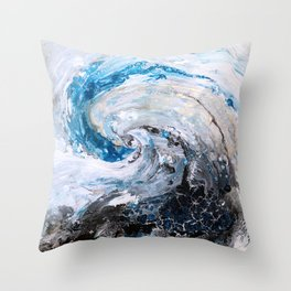 Ocean wave - blue and gold abstract seascape Throw Pillow