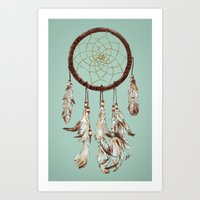 dreamcatcher Art Prints featuring dreamcatcher by tipsyeyes