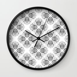 Black and White Doodle Flower Drawing Wall Clock