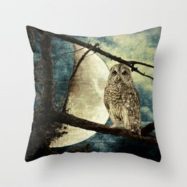 Barred Owl Bird Night Moon Blue Tans Country Art A137 Throw Pillow