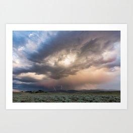 Yellowstone National Park - Sunset storm over the Washburn Range Art Print