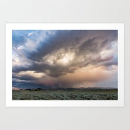 Yellowstone National Park - Sunset storm over the Washburn Range Art Print