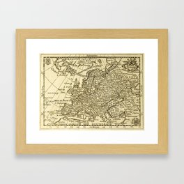 Vintage map of Europe Framed Art Print