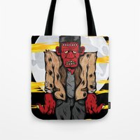 frankenstein Tote Bags featuring Frankenstein by Pancho the Macho