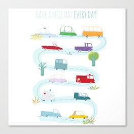 Cute Cars Print Canvas Print
