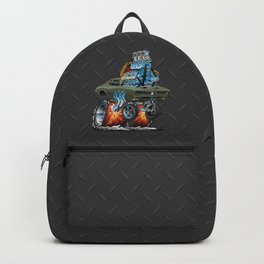 Classic American Muscle Car Hot Rod Cartoon Vector Illustration Backpack