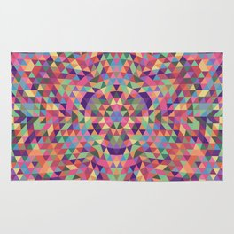 Colorful Triangle Mandala Rug