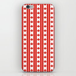 Red and White Canadian Maple Leaf Flag Stripe iPhone Skin