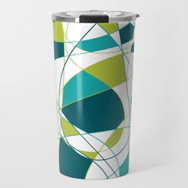 Modern Abstract Retro Green and Teal Art Travel Mug