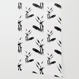 Feather Flurry I (B&W) Wallpaper