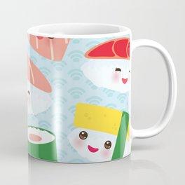 pattern Kawaii funny sushi rolls set with pink cheeks and big eyes, emoji Coffee Mug