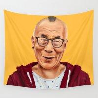 lama Wall Tapestries featuring Hipstory -  Dalai Lama by Amit Shimoni