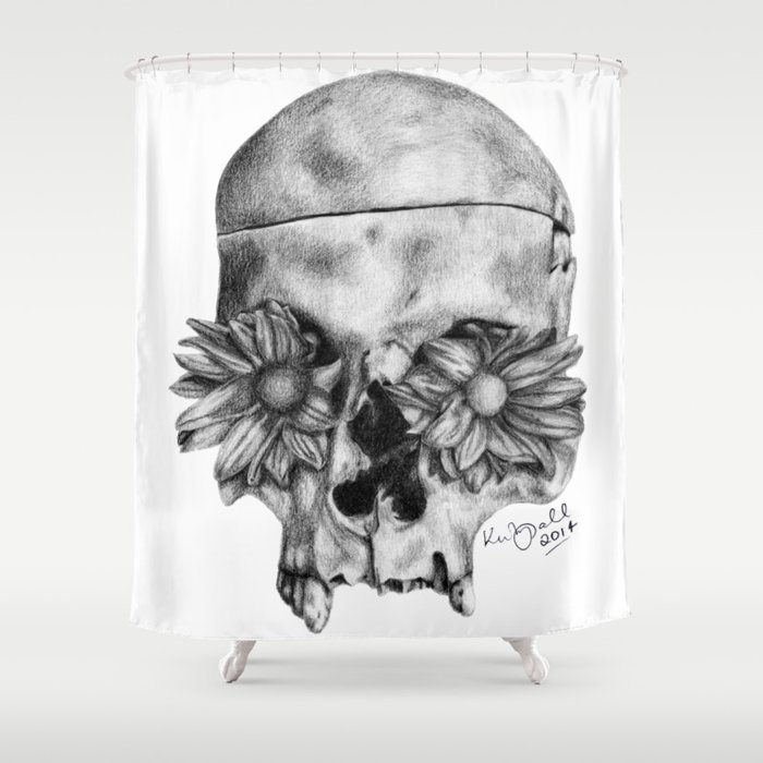 Skull and Flowers Drawing Shower Curtain