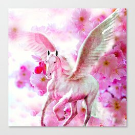 HORSE PINK FANTASY CHERRY BLOSSOMS Canvas Print