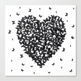 Heart - summer card design, black butterfly on white background Canvas Print