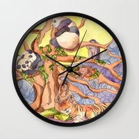 asia Wall Clocks featuring Asia by Emelinedou
