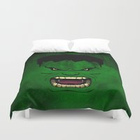 monster inc Duvet Covers featuring Monster Green by Inara