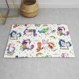 Reading Unicorn Pattern Rug
