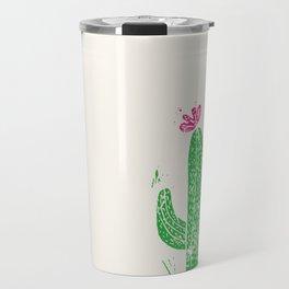 Linocut Cactus #2 in a pot Travel Mug