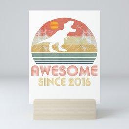 3rd Birthday Gift T-Shirt Awesome 2016 Dinosaur 3 Yrs Old Mini Art Print