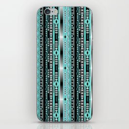 Abstract ethnic pattern in turquoise , black and white . iPhone Skin