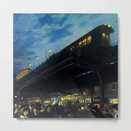 American Masterpiece 'Six O'clock Winter' Third Avenue El, NYC by John French Sloan Metal Print