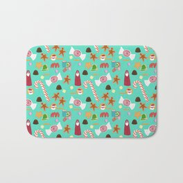 Christmas Sweeties Candies, Peppermints, Candy Canes and Chocolates on Tiffany Aqua Bath Mat