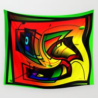 frames Wall Tapestries featuring Mysterious frames II by Horacio Moschini