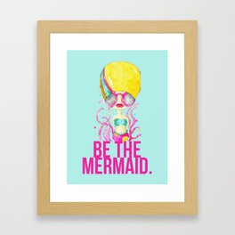 golden.  a happy mermaid Framed Art Print