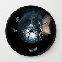 moth Wall Clocks featuring Moth by Ink Bird Art