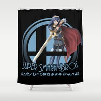 super smash bros Shower Curtains featuring Lucina - Super Smash Bros. by Donkey Inferno