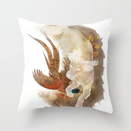 Ghost Dog- Spaniel hunting Pheasant Throw Pillow