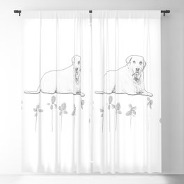Dog Flower Sketch Blackout Curtain