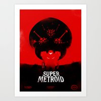metroid Art Prints featuring Super Metroid by Ian Wilding