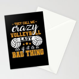 They Call Me Crazy Volleyball Lady Stationery Cards